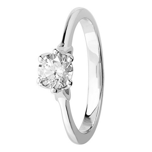 Bague solitaire diamant brillant en Platine