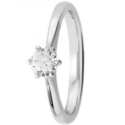 Bague solitaire diamant central serti de 6 griffes