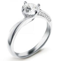 Bague solitaire diamant rond en platine accompagné