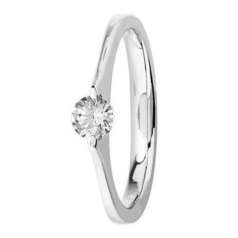 Bague solitaire diamant serti masse en Platine