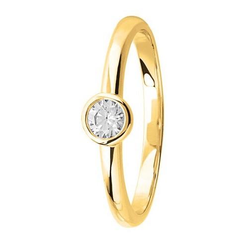 Bague solitaire diamant serti clos en Or jaune