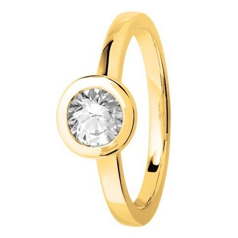 Bague solitaire diamant or jaune serti clos diamant rond