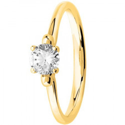 Bague solitaire diamant rond serti 4 griffes en Or Jaune