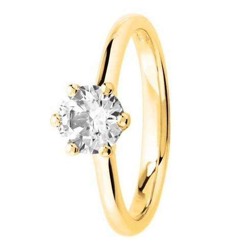 Bague solitaire diamant serti 6 griffes en Or jaune 750