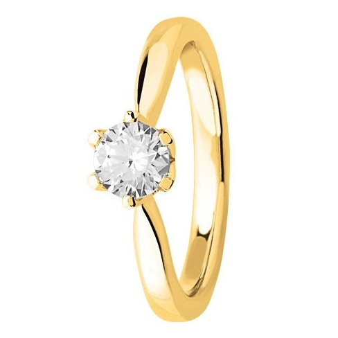 Bague solitaire diamant en Or jaune 750 millièmes