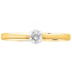 Bague solitaire diamant brillant en Or jaune 750 millièmes