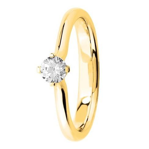 Bague solitaire diamant blanc serti 4 griffes en Or jaune