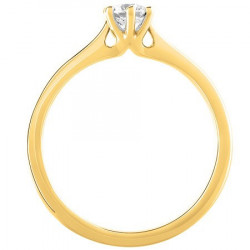 Bague solitaire diamant central serti 6 griffes en Or jaune