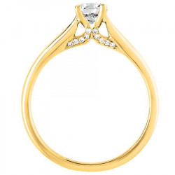 Bague solitaire diamants en Or jaune 750 millièmes