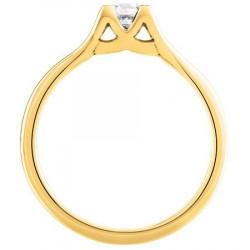 Bague solitaire diamant serti 4 griffes en Or jaune
