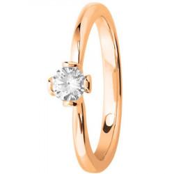 Bague solitaire diamant couronne 4 griffes en Or rose