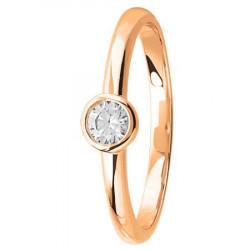 Bague solitaire diamant serti clos en Or rose