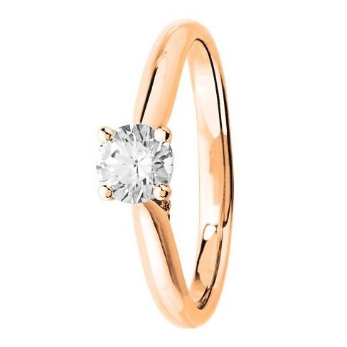 Bague solitaire diamants en Or rose 750 millièmes