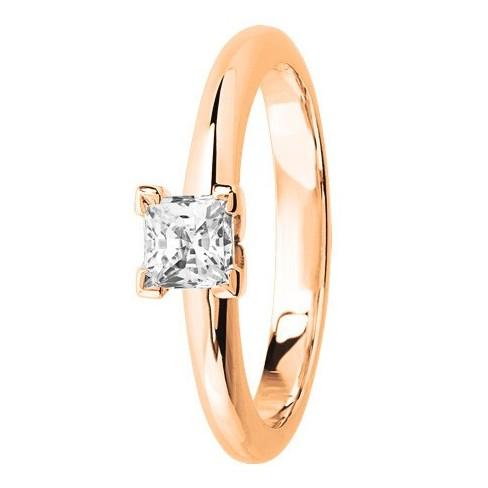 Bague solitaire diamant serti 4 griffes en Or Rose
