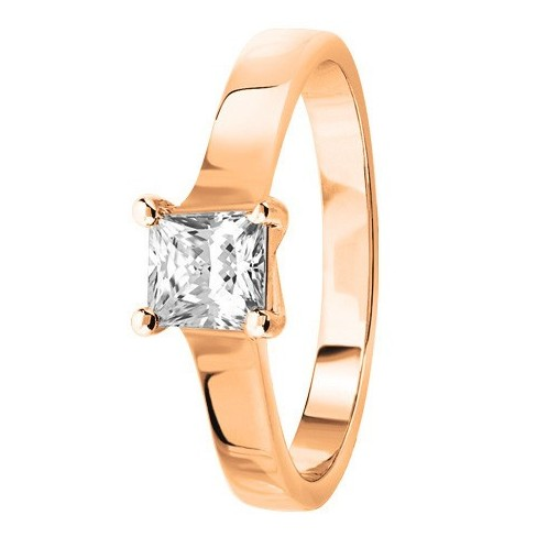 Bague solitaire diamant princesse serti 4 griffes en Or rose 750