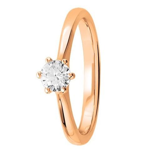 Bague solitaire diamant central serti 6 griffes en Or rose