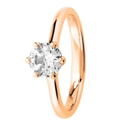 Bague solitaire diamant serti 6 griffes en Or rose 750