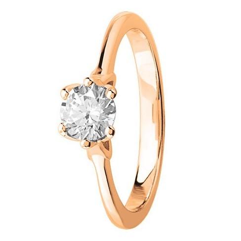 Bague solitaire diamant brillant en Or rose 750 millièmes