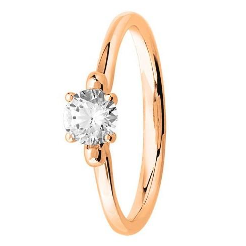 Bague solitaire diamant rond serti 4 griffes en Or Rose