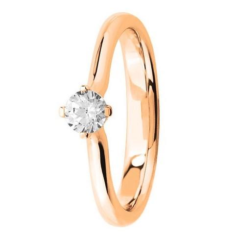 Bague solitaire diamant blanc serti 4 griffes en Or rose