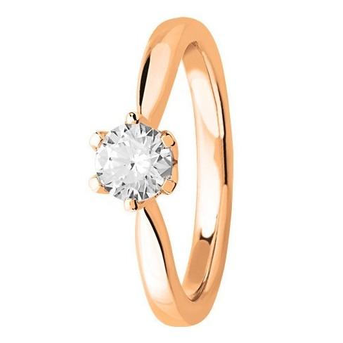 Bague solitaire diamant en Or rose 750 millièmes