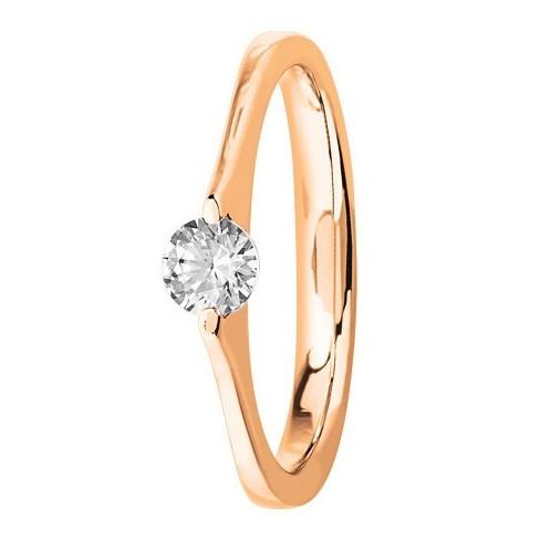 Bague solitaire diamant serti masse en Or rose