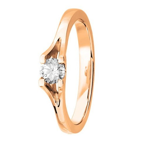 Bague solitaire diamant serti 4 griffes en Or rose