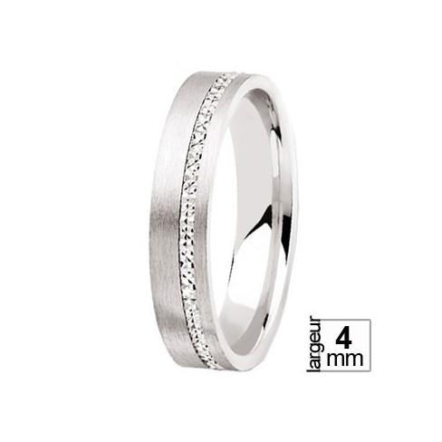 Alliance de mariage Or blanc 750 confort