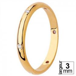 Alliance de mariage diamants en Or jaune bombée extérieur
