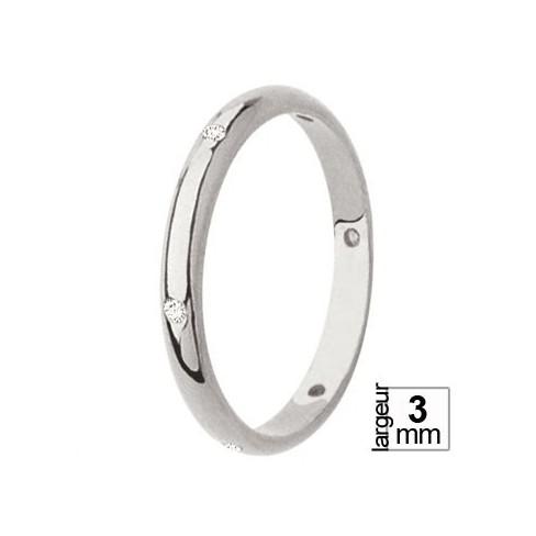 Alliance de mariage diamants taille brillants en Or blanc