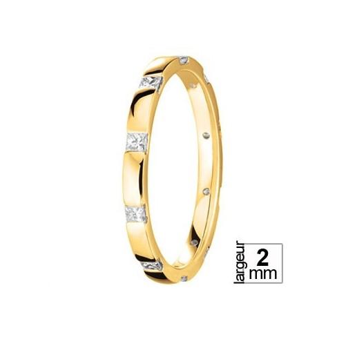 Alliance diamants taille princesse en Or jaune - Boutique Alliance