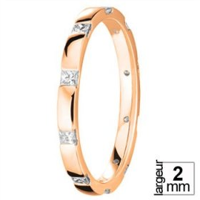 Alliance Diamant baguette - Alliance de mariage Or rose...