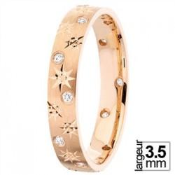Alliance diamants motifs étoilés en Or rose - Boutique Alliance