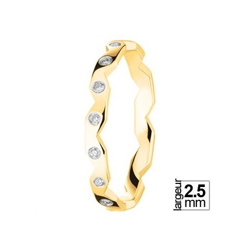 Alliance diamants motif zig zag en Or jaune - Boutique Alliance
