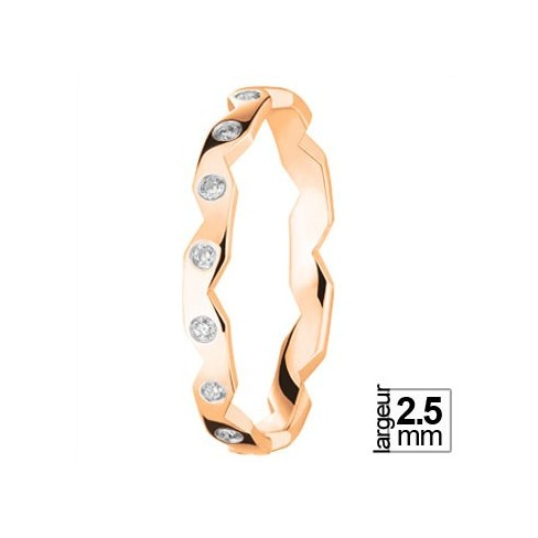 Alliance diamants style zig-zag en Or rose - Boutique Alliance