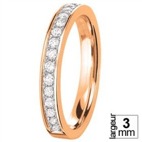 Alliance Diamant - Alliance de mariage Or rose...