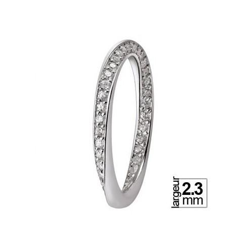 Alliance Or blanc vrille ronde de diamants - Boutique Alliance