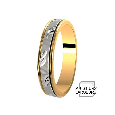 Alliance deux Ors satiné motif virgule - 04036099B