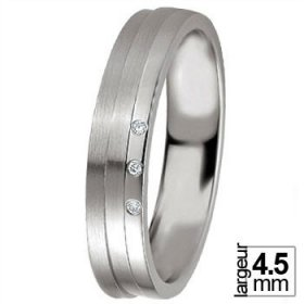Alliance Diamant - Alliance de mariage Argent...