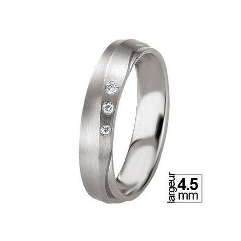 Alliance Breuning diamants en argent 925 motif vague souple - Boutique Alliance