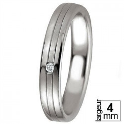 Alliance Breuning argent et diamant sur bande satinée - 13774267A
