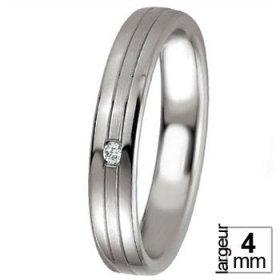 Alliance Diamant - Alliance de mariage Argent...
