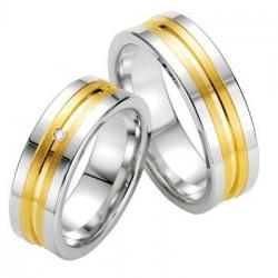 Alliance de mariage en argent deux bandes plaqué Or - 13034172A
