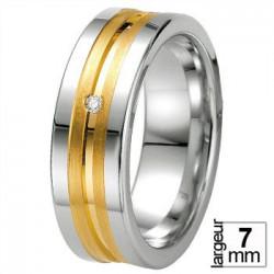 Alliance Breuning en argent et diamant - 13774171A