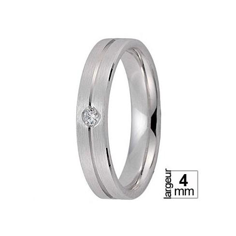 Alliance de mariage Or blanc ruban et diamant - Boutique Alliance