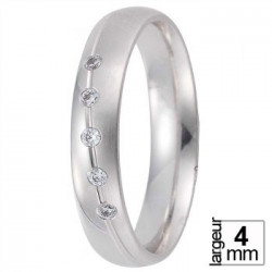 Alliance diamants Demi-bombée en Or blanc - Boutique Alliance