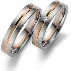 Alliance bicolore Or blanc et Or rose serti d'un diamant
