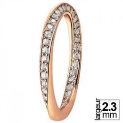 Alliance Or rose avec vrille en diamants - Boutique Alliance