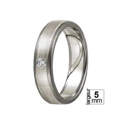 Alliance Ruban avec diamant matière Palladium 500 et Or blanc 375 - Boutique Alliance