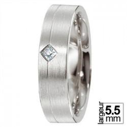 Alliance Breuning en Platine et Diamant taille princesse - Boutique Alliance